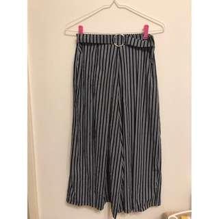 二手條紋寬褲褲裙