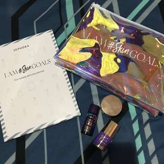 SEPHORA HOLO POUCH WITH WEEKLY SKINCARE PLANNER & TARTE 3 SETS SKINCARE TRAVEL KIT / SIZE