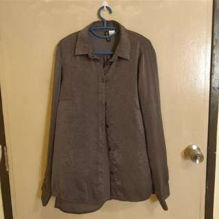H&M Divided Heather Grey Satin Blouse