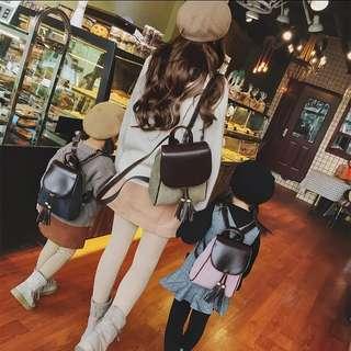 <P.O> Korean Ulzzang Harajuku Parent-Child Cute Tassel Backpack Bag