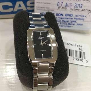 Casio Ladies Stainless Steel Analog Casual Dress Watch - Black dial