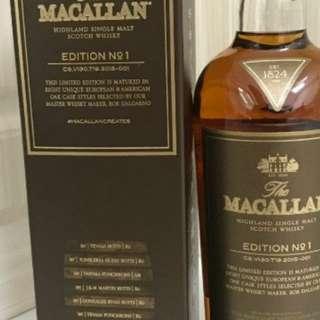 麥卡倫N o.1威士忌700m l連盒,香港行貨。