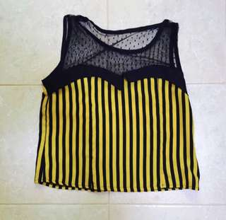 Mustard striped mesh crop top
