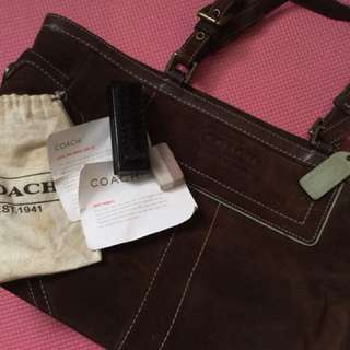 COACH Suede Hand bag with Care Kit