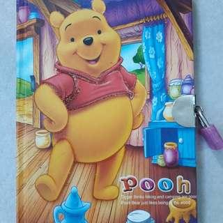 winnie the pooh diary with mini lock