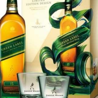 J W G r e e n L a b e l  綠牌15年威士忌700m l連一對威士忌杯禮盒(台版)