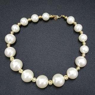 高貴米白圓珠頸鏈