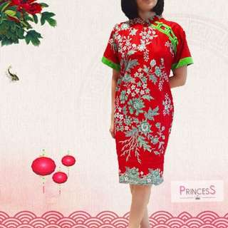 Cheongsam dress katun primissima red green