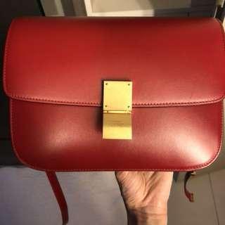Celine box bag medium red