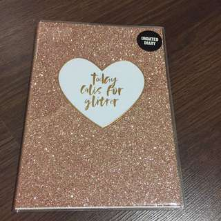Undated diary/planner with glitter pink cover