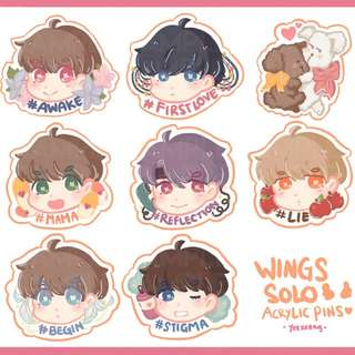 BTS Wings Solo Acrylic Pins ♡