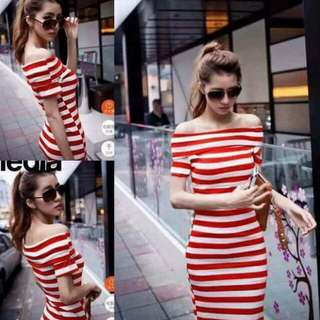 💋Fold-over Off Shoulder Stripe Dress