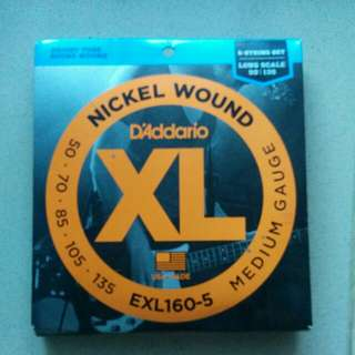 D'addario XL 5 bass strings EXL160-5 Nickel Wound Medium Guage EXL160-5