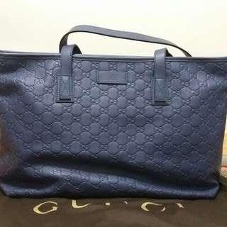 Gucci 雙G壓纹藍色上膊袋