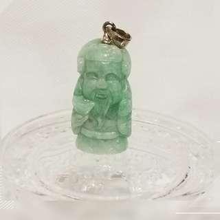 緬甸玉 綠色 文財神爺 純銀吊墜一個 JP-11