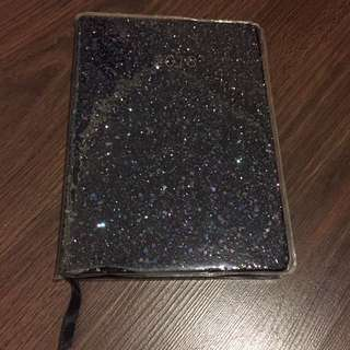 2018 black glitter planner dated