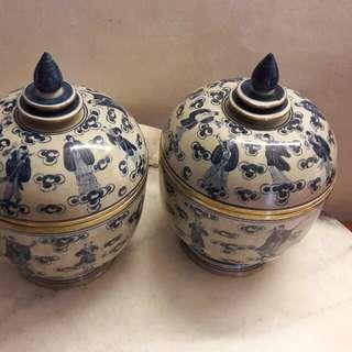 Antiques Chinese 8 Immortal Porcelain Jar
