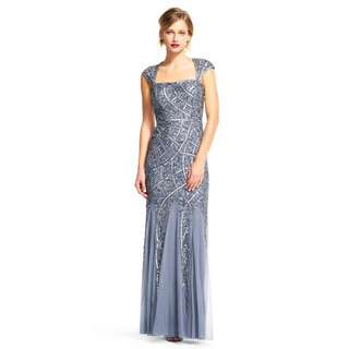 (Rental) Adrianna Papell Silver Grey Cap Sleeve Evening Sequin Gown