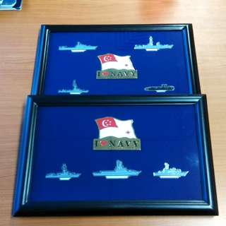 Singapore Navy vessel pin badges with frame