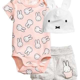 H&M three-piece Miffy baby bodysuit