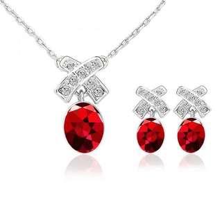Swarovski Red pierce & necklace set 5034158