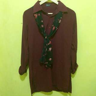 Tunic slit maroon + syal/scarft