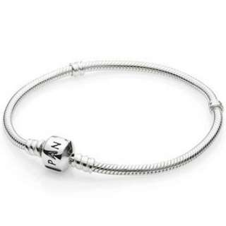 Pandora Charm Bracelet Sterling Silver with barrel Clasp