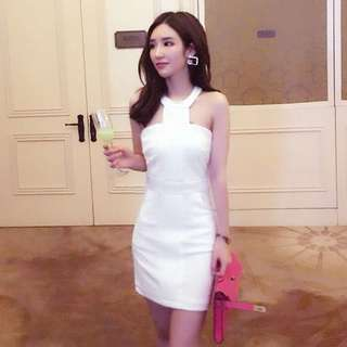 Elegant white dress dinner dress