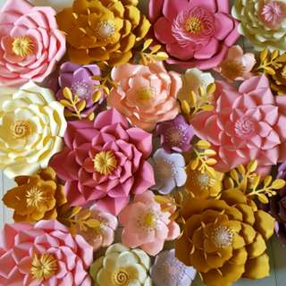 GOLD AND PINK PAPER FLOWERS