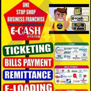 Ticketing (travel and tours),e cash, cebuana, gcash, load, bills payment,remittance