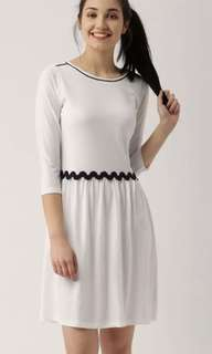 White solid fit and flare dress | Brand New with tag