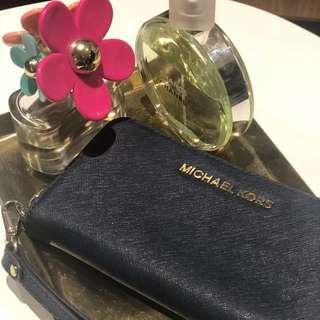 Authentic MICHAEL KORS Jet Set Saffiano Leather Blue Wallet