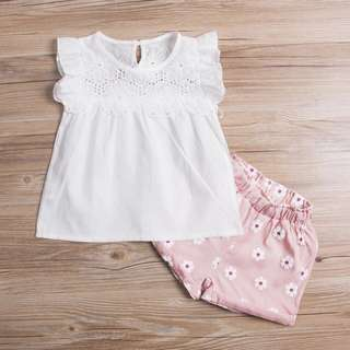 White Lace Top with Pink Flower Shorts