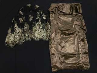 Dress tube bronze satin stelan 👍🏻