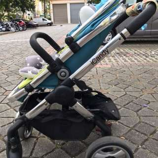 icandy double stroller with bassinet & car seat