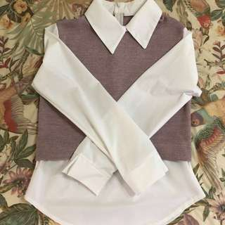 Blouse with Pink Knit Style