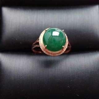 🍀18K Gold - Grade A 冰糯 Full Green Oval Cabochon Jadeite Jade Ring🎇