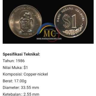 1986 Duit syiling lama RM1 Ulangtahun ke 35 Persidangan PATA