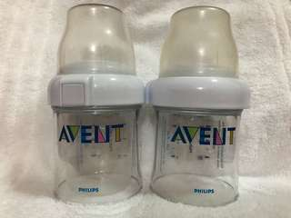 Avent disposable travel bottle (used once) set with 50 brand new liners