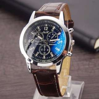 Ek20 Men's leather strap watch