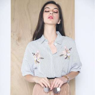 Hollyhoque Bijou Embroidered Stripe Shirt