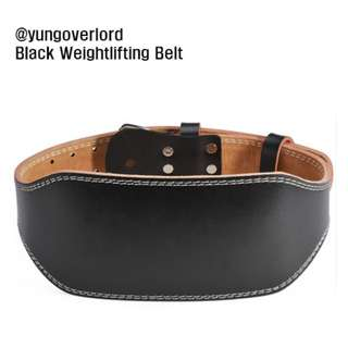 BLACK WEIGHTLIFTING BELT MADE FROM REAL LEATHER PERFECT FOR GYM USE