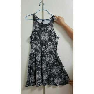 Vintage Flower Black Dress L size