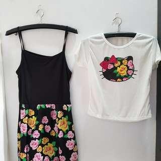JUAL RUGI NEW 9013 setelan HELLO KITTY YUKENSI DRESS FLOWERY