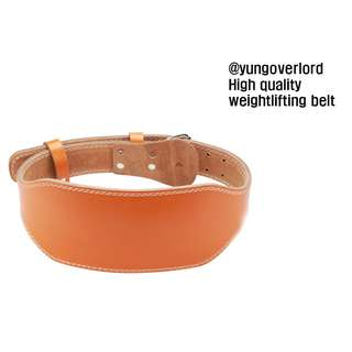 HIGH QUALITY ORANGE WEIGHTLIFTING BELT MADE FROM REAL LEATHER PERFECT FOR POWERLIFTING AND BODYBUILDING