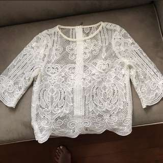 Lace crotch top cardigan blouse top 3/4 sleeve white