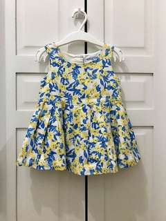Yellow and Blue Floral Dress