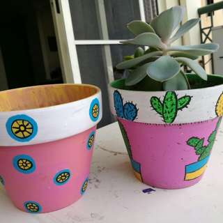 Two hand painted pots