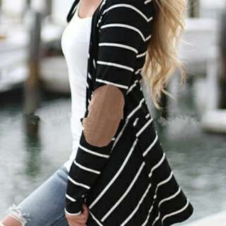New black and white striped cartigan