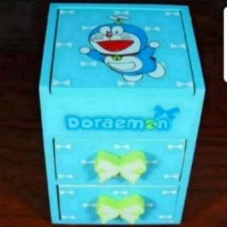 Instock Doraemon Jewellery Box Stationery Box With 2 Drawers And 1 Mirror